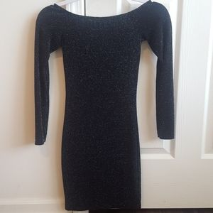 Black Sparkly Off Shoulder Long Sleeve Mini Dress